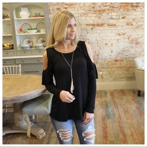 LAST ONE! Black Cold Shoulder Ruffle  sleeve Top